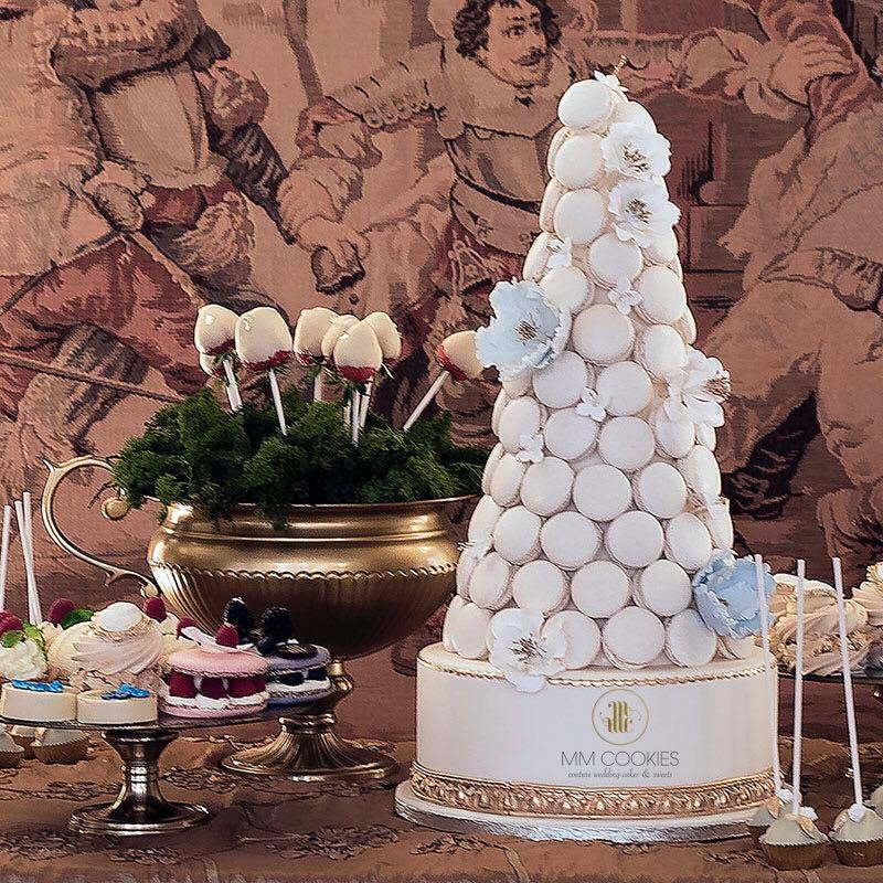 Trendy Wedding Cake Alternative macaron tower