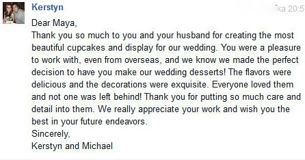 Testimonials from wedding Couple
