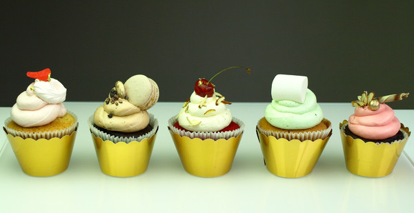 Selection of wide range  delicious cupcakes
